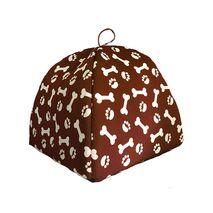 Κρεβατάκι Σπιτάκι με Μαξιλάρι και Σχέδια Πατούσες & Κόκκαλα σε Καφέ Χρώμα 50x50x45 cm