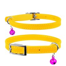 Collar Περιλαίμιο Δερμάτινο Glamour Κίτρινο για Γάτες