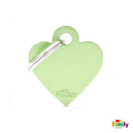 My Family Ταυτότητα Πράσινη Μικρή σε Σχήμα Καρδιάς