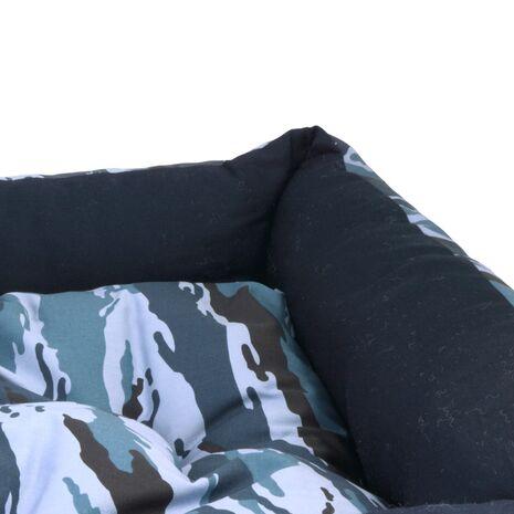 Κρεβατάκι Πουφ Μπλε Παραλλαγής με Μαξιλάρι