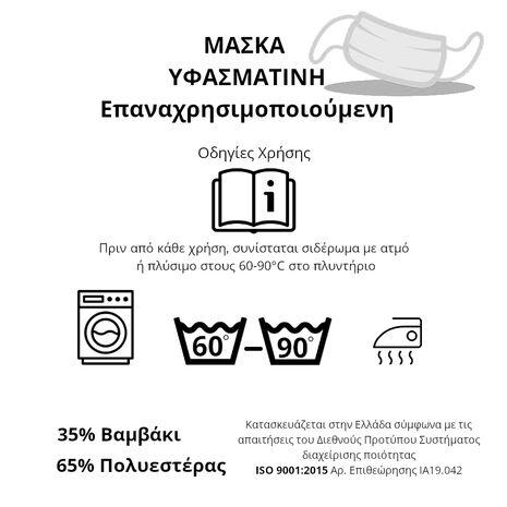 Μάσκα Υφασμάτινη Επαναχρησιμοποιούμενη Πράσινη - Φυστικί