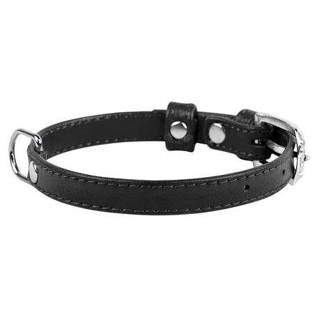 Collar Περιλαίμιο Δερμάτινο Glamour Μαύρο
