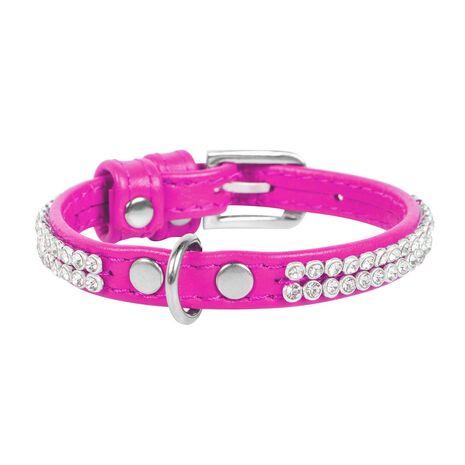 Collar Περιλαίμιο Δερμάτινο Glamour Ροζ με Κρυστάλλους