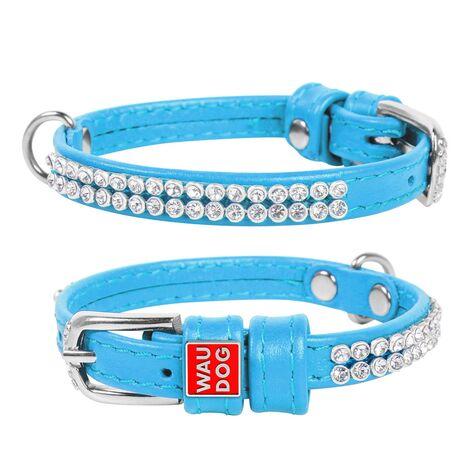 Collar Περιλαίμιο Δερμάτινο Glamour Μπλε με Στρας