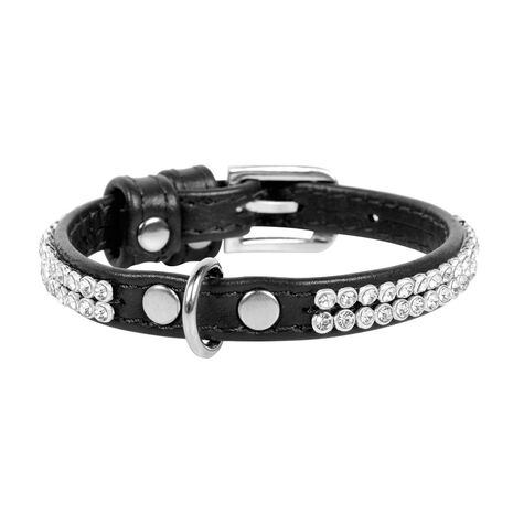 Collar Περιλαίμιο Δερμάτινο Glamour Μαύρο με Στρας